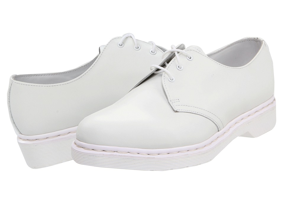 Dr. Martens 1461 3-Tie Shoe (White Smooth) Lace up casual Shoes