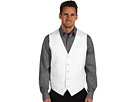 Perry Ellis - Linen and Cotton Herringbone Vest (Bright White) - Apparel