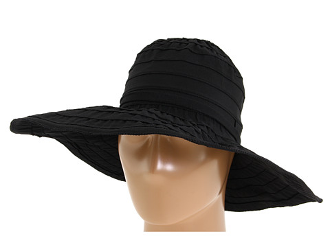 San Diego Hat Company RBL4770 Crushable Ribbon Floppy Sun Hat - Black