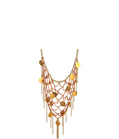 Chan Luu - Brass Chain Necklace w/ Mix Cotton Thread Woven Throughout and Embellished w/ Metallic Coins