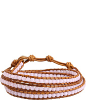 Chan Luu - Rose Alabaster Crystal Wrap Bracelet on Natural Brown Leather