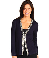 Jones New York - Petite L/S Beaded V-Neck Cardigan