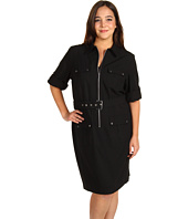MICHAEL Michael Kors Plus - Plus Size New Amirage Roll Sleeve Belted Shirt Dress
