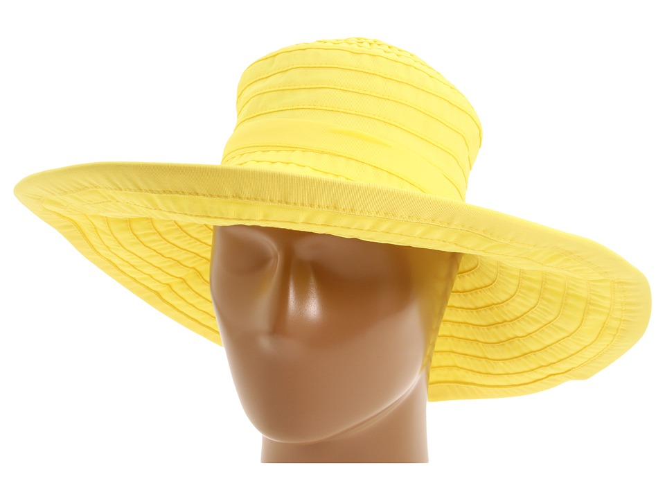 San Diego Hat Company - RBL299 Crushable Ribbon Floppy Hat (Lemon) Traditional Hats