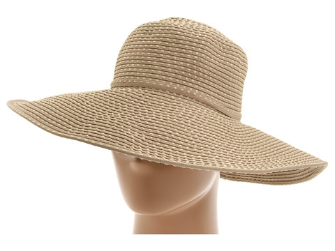 San Diego Hat Company RBL205 Ribbon Crusher Hat with Ticking Sun Hat - Khaki