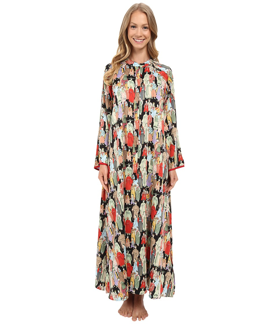 Natori - Dynasty Zip Caftan (Black) Womens Pajama