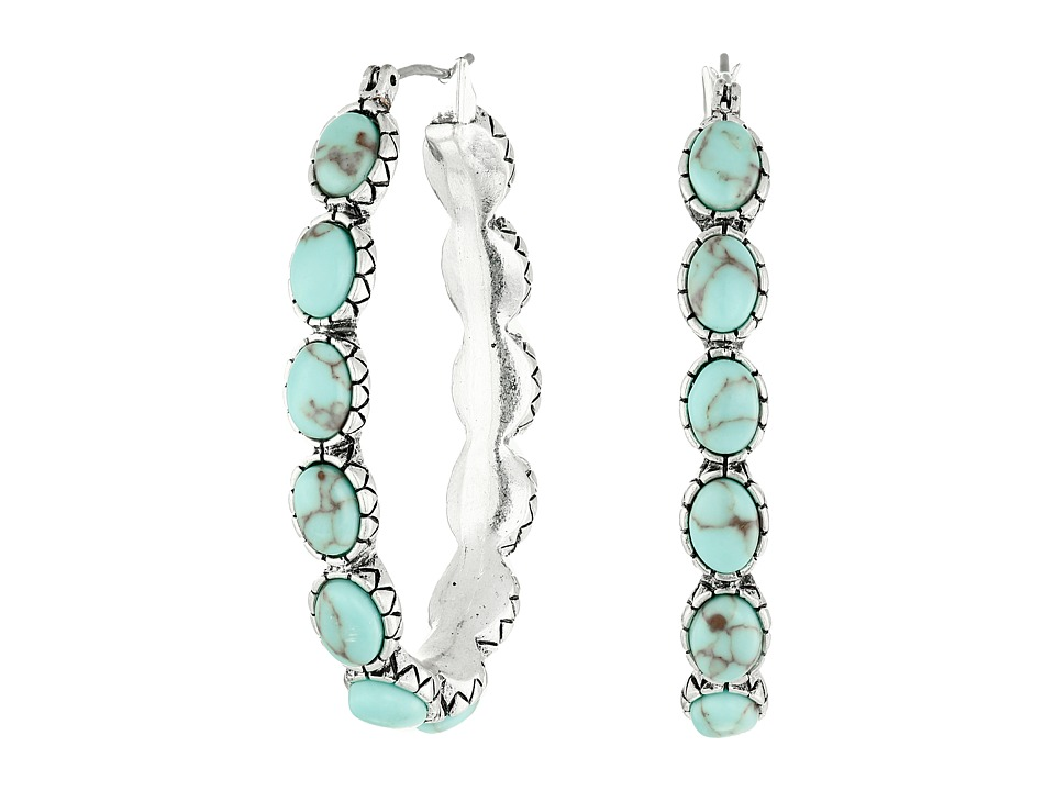 Lucky Brand - Oblong Turquoise Inlay Hoop Earring (Turquoise) Earring