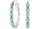 Lucky Brand Oblong Turquoise Inlay Hoop Earring
