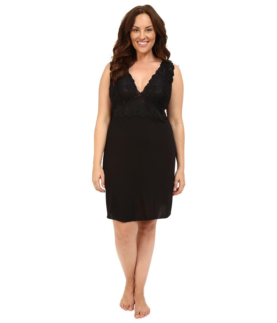 Natori - Plus Size Zen Floral Chemise (Black) Womens Pajama