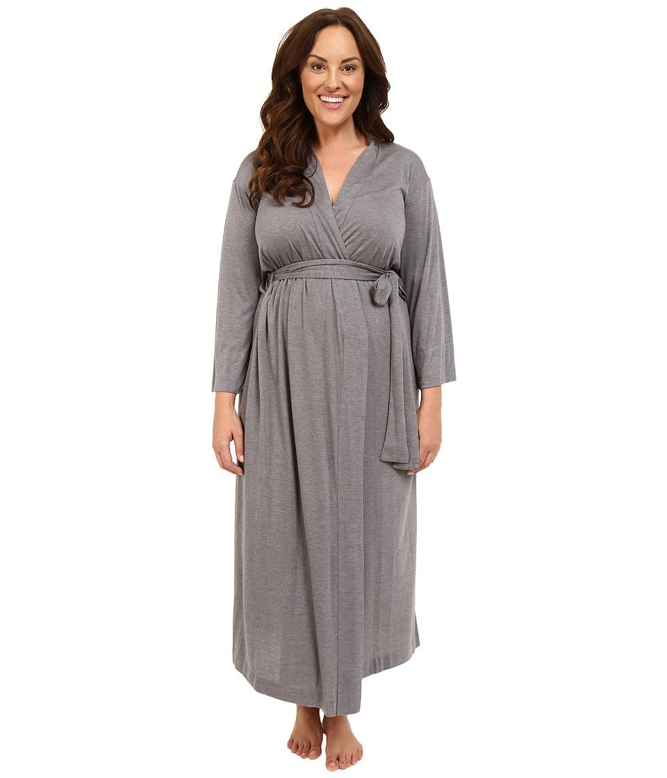 Natori Plus Size Shangri-La Robe (Heather Grey) Women's Robe