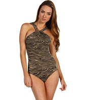 Michael Kors - Metallic Mini Zebra Shirred High Neck Maillot