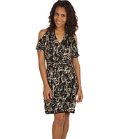 Kenneth Cole New York - Abstract Crackle Printed Cold Shoulder Drape Dress