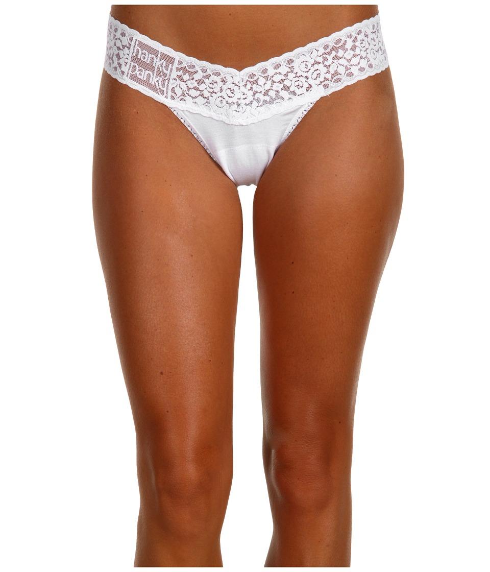 Hanky Panky - Logo To Go Modal Low Rise Thong (White) Women's Underwear