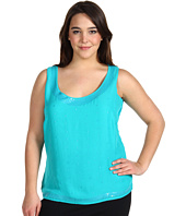 Anne Klein Plus - Plus Size Sleeveless Embellished Scoop Neck Tank