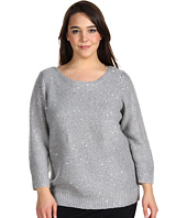 Anne Klein Plus - Plus Size 3/4 Sleeve Sequin Boat Neck Pullover