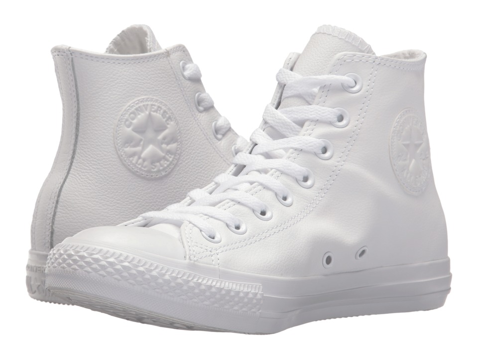 Converse - Chuck Taylor(r) All Star(r) Leather Hi (White Monochrome) Classic Shoes