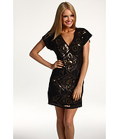 Hale Bob - Beaded Stretch Silk Charmeuse V-Neck Dress