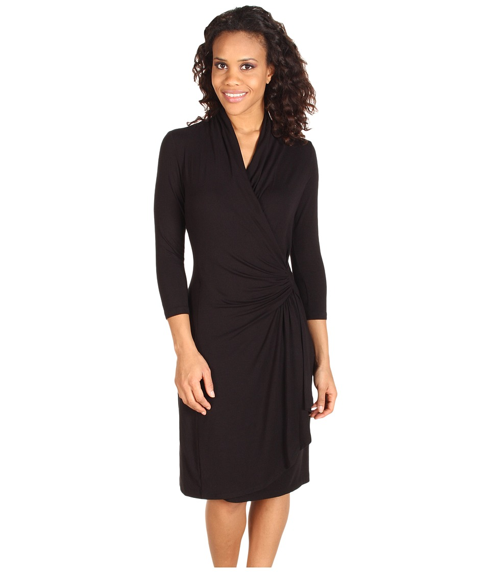 Karen Kane Cascade Wrap Dress (Black) Women