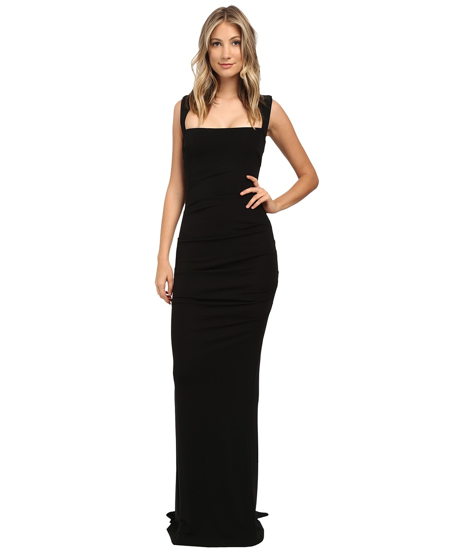 Nicole Miller Felicity Open Back Jersey Gown (Black) Women