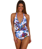 Tommy Bahama - Zaffiro Paisley V-Neck Halter One Piece w/ Front Tie and Tummy Control