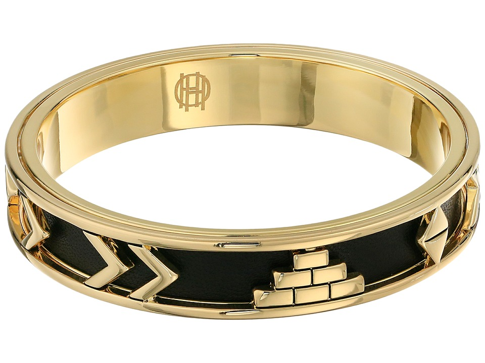 House of Harlow 1960 - Aztec Bangle with Black Leather (14K Yellow Gold Plated) Bracelet