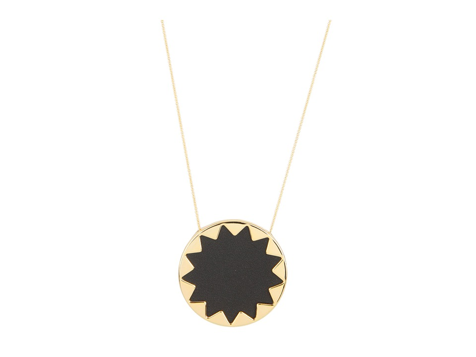 House of Harlow 1960 - Sunburst Pendant with BlackLeather (14K Yellow Gold Plated) Necklace