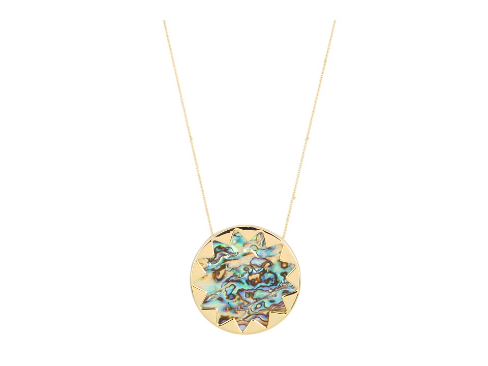 House of Harlow 1960 - Sunburst Pendant with Abalone Shell (14K Yellow Gold Plated) Necklace
