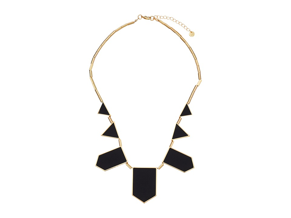 House of Harlow 1960 - Plated Five Station Black Leather Necklace (14K Yellow Gold Plated) Necklace