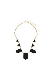 House of Harlow 1960 - Plated Five Station Black Leather Necklace