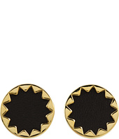 House of Harlow 1960 - Sunburst Button Earrings with Black Leather