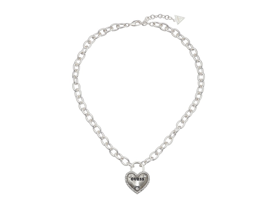 GUESS - Framed Heart Necklace (Silver) Necklace