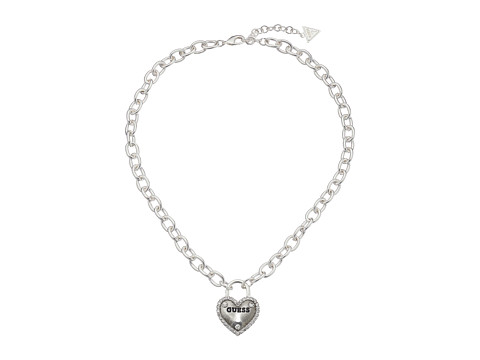 GUESS Framed Heart Necklace - Silver