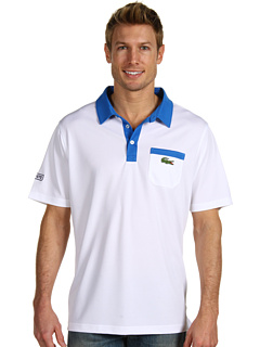 Lacoste - S/S Super Dry Polo w/ Chest Pocket and Contrast Collar (White/Royal Blue) - Apparel