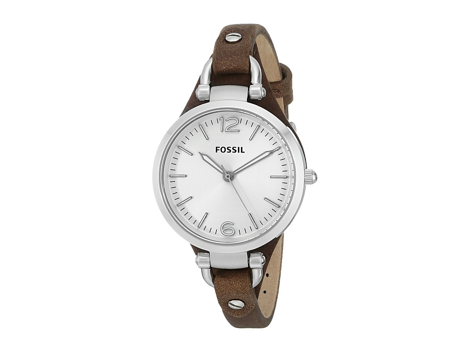 Fossil - Georgia - ES3060 (Brown Leather) Analog Watches