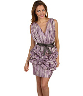 Vera Wang Lavender Label - Cotton V-Neck with Ruffle Peplum Dress