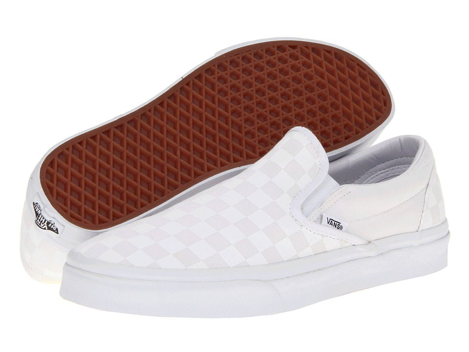 Vans Classic Slip-On Core Classics ((Checkerboard) True White/True White) Shoes