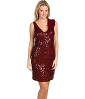 Badgley Mischka - Sequin Corsage V-Neck Dress