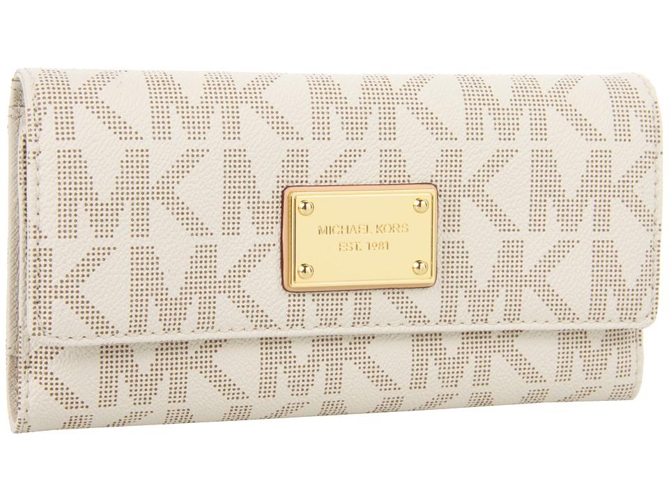 MICHAEL Michael Kors - Jet Set Checkbook Wallet (Vanilla Leather w/ PVC Logo) Checkbook Wallet