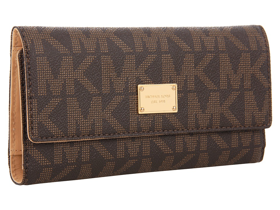 MICHAEL Michael Kors - Jet Set Checkbook Wallet (Brown Leather w/ PVC Logo) Checkbook Wallet