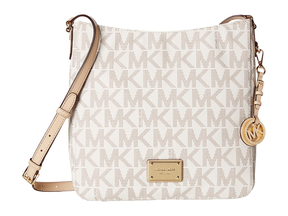 MICHAEL Michael Kors Jet Set Travel Large Messenger Vanilla Leather w/ PVC Logo Cross Body Handbags