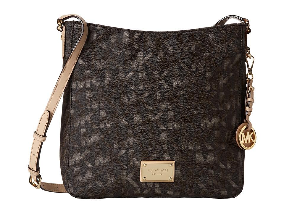 MICHAEL Michael Kors Jet Set Travel Large Messenger Brown Leather w/ PVC Logo Cross Body Handbags