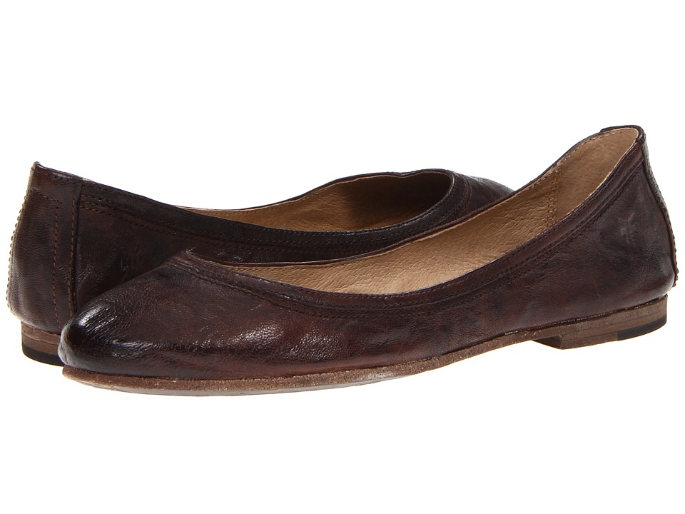 Frye Carson Ballet (Dark Brown Antique Soft Full Grain) Flats