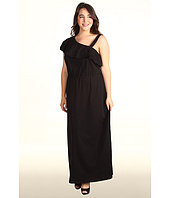 DKNYC - Plus Size One Shoulder Ruffle Maxi Dress