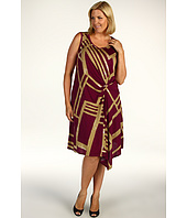 DKNYC - Plus Size Mambo Stripe S/L Dress w/ Tuck Front