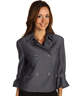 Anne Klein - Indigo Twill Cropped Trench Coat