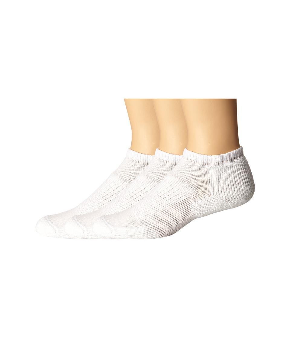Thorlos Walking Micro Mini Moderate Cushion 3 Pair Pack White Low Cut Socks Shoes