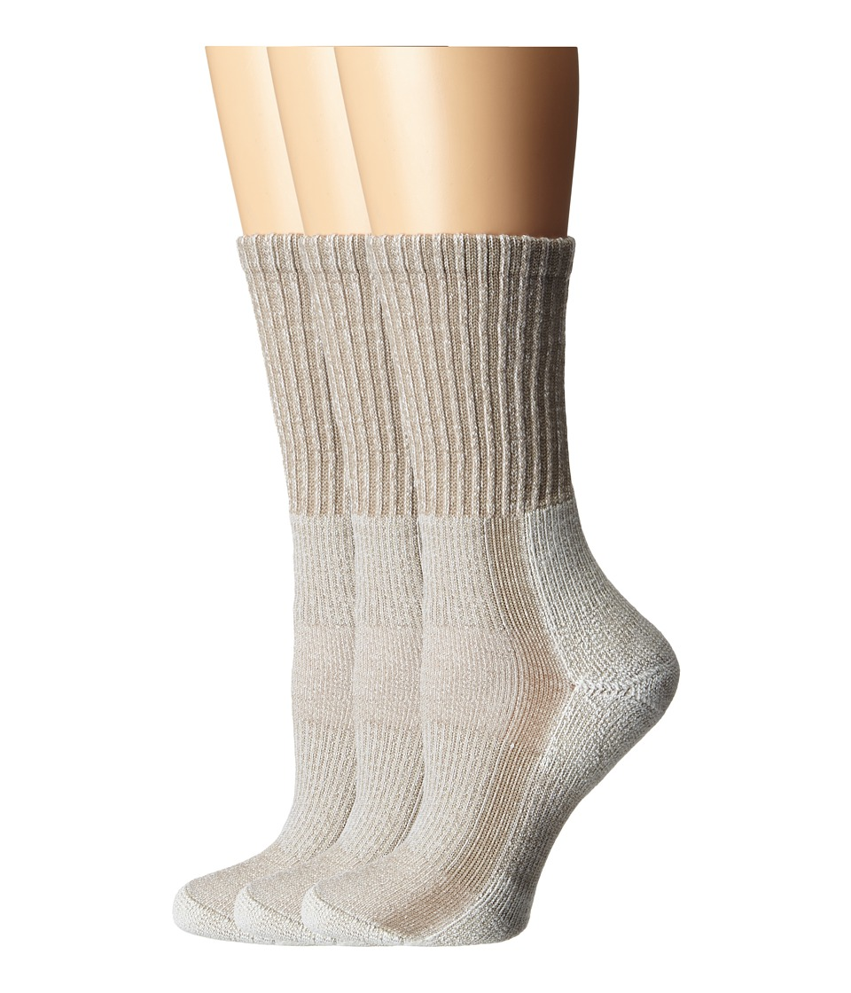 Thorlos Light Hiker Crew 3 Pair Pack Khaki Womens Crew Cut Socks Shoes