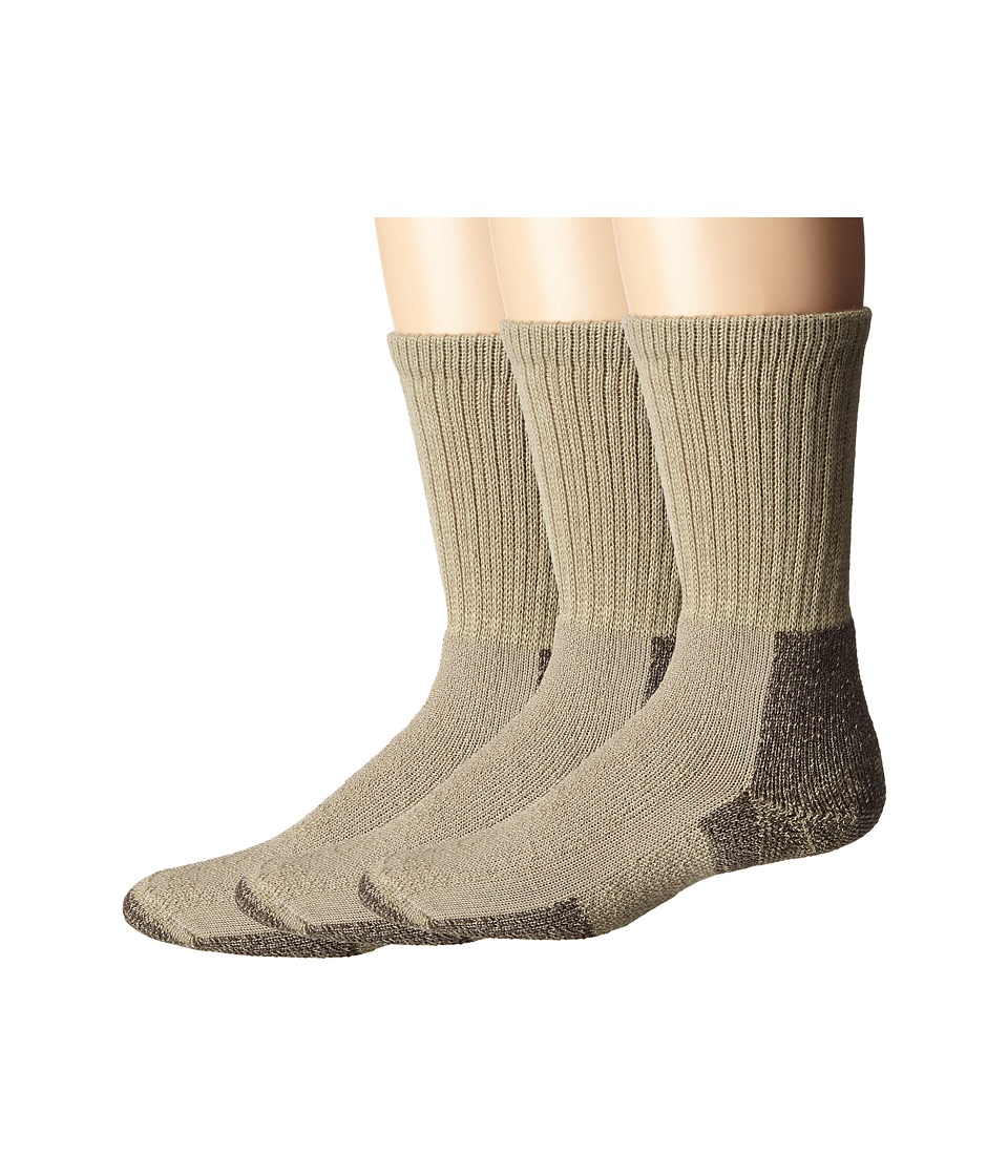 Thorlos Hiking Crew 3-Pair Pack (Khaki) Crew Cut Socks Shoes