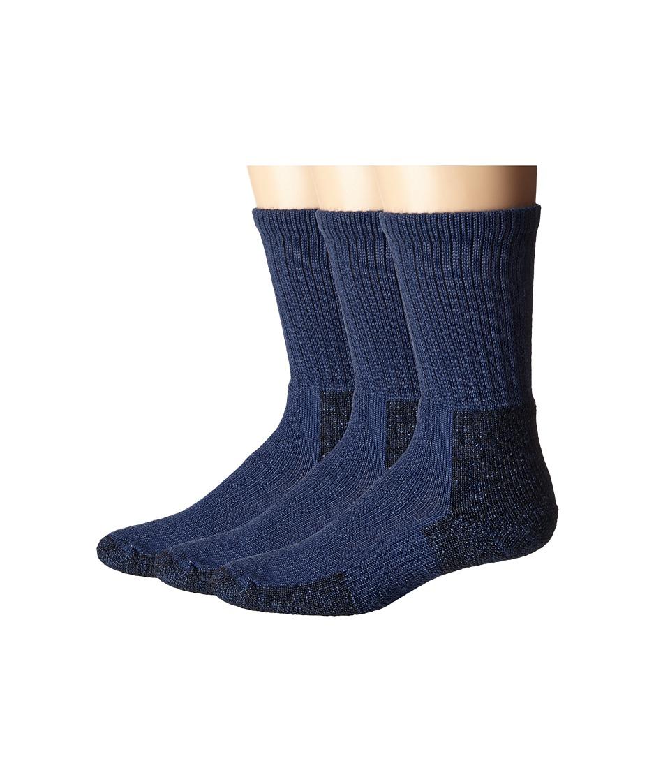 Thorlos Hiking Crew 3-Pair Pack (Dark Blue) Crew Cut Socks Shoes