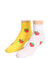 Betsey Johnson - 2 Pack Sweet As Cherry Pie Printed Shortie Socks